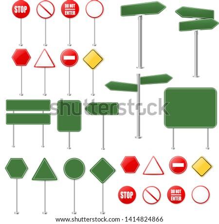 yol · sokak · işaretleri · ayarlamak · reklam · panoları · yalıtılmış - stok fotoğraf © cammep