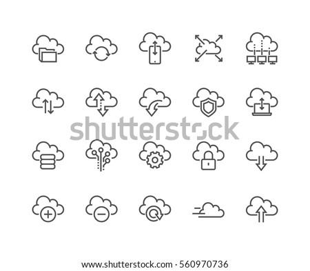 Felhő alapú technológia vonal ikon szett adat átutalás felhő Stock fotó © Winner