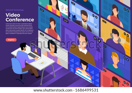 Vídeo conferência negócio comunicação computador escritório Foto stock © makyzz