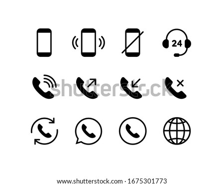 Icon of telephone handset for accept phone call as help or support Stock photo © ussr