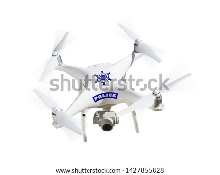 Police Unmanned Aircraft System, (UAS) Drone Isolated on a White Stock photo © feverpitch