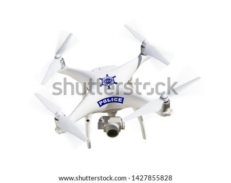 警察 航空機 孤立した 白 技術 空気 ストックフォト © feverpitch