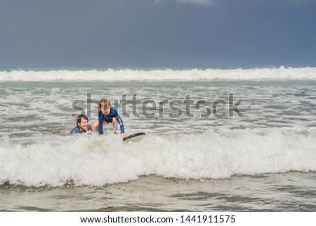 Photo stock: Père · enseignement · jeunes · fils · surf · mer