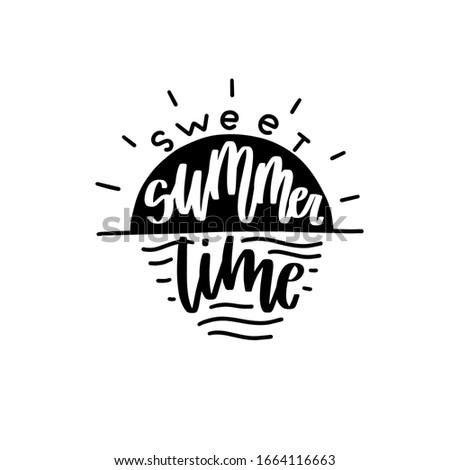 its summer time illustration with typography letter on blurred beach background vector holiday des stock photo © articular