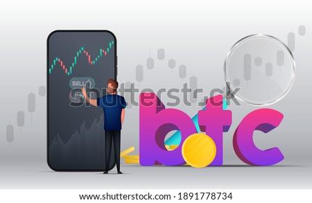 Bitcoin dólar castiçal traçar ícone financeiro Foto stock © MarySan