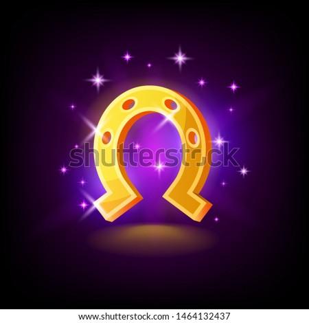 Goud hoefijzer symbool geluk sleuf icon Stockfoto © MarySan