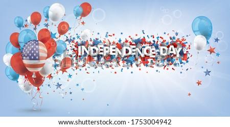 independence day shield usa balloons sunbeam stars bokeh header stock photo © limbi007