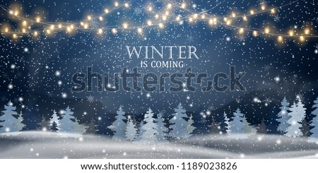 Christmas, snowy night woodland landscape with falling snow, firs, light garland, snowflakes for win Stock photo © olehsvetiukha