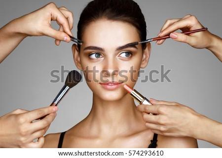 Mooi meisje handen make lippenstift gezicht foto Stockfoto © serdechny