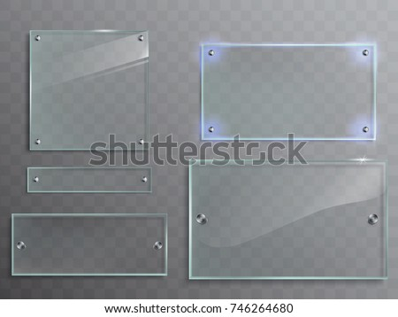 Glas plaat ingesteld transparant plastic banner Stockfoto © Andrei_