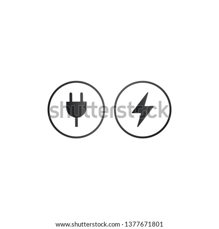 charger wall plug and lightning charging icon in circle charger sign for web and appvector illustr stock photo © kyryloff