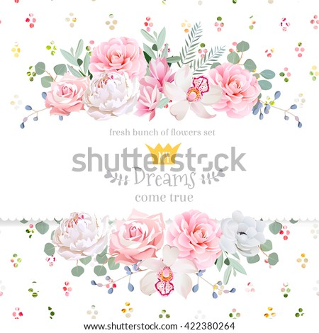 Stock photo: Peony flowers card Vector watercolor. Delicate pink floral decors