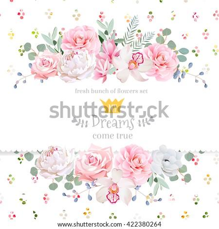 Virágok kártya vektor vízfesték rózsaszín virágmintás Stock fotó © frimufilms