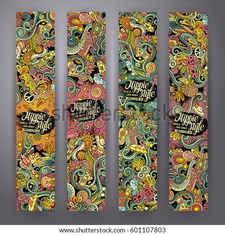 Hippie hand drawn doodles illustration. Hippy frame card design. Stock photo © balabolka