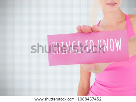 Things to Know Text and Hand holding card with pink breast cancer awareness woman Stock photo © wavebreak_media