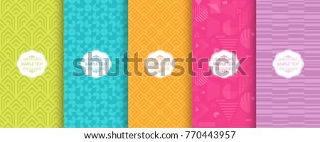 Zestaw jasne bezszwowy geometryczny wzorców twórczej Zdjęcia stock © ExpressVectors