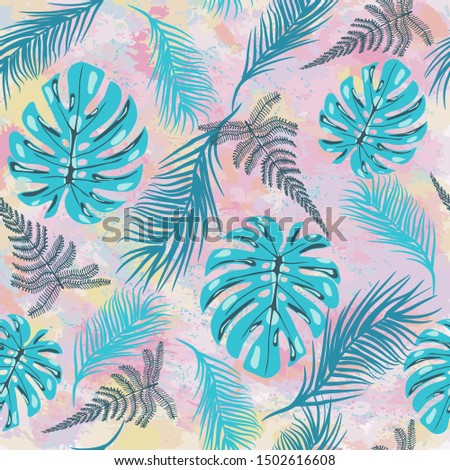 pattern with tropical monstera leaves tropilal on Pastel abstra Stock photo © Margolana