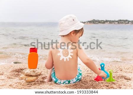 Sol desenho protetor solar bronzeado loção bebê Foto stock © galitskaya
