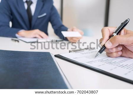 Boord lezing sollicitatiegesprek werkgever jonge Stockfoto © Freedomz