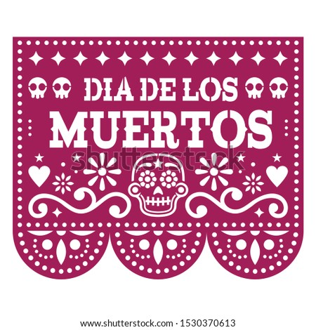 Happy Halloween  Papel Picado design with sugar skulls, Mexican paper cut out garland background wit Stock photo © RedKoala