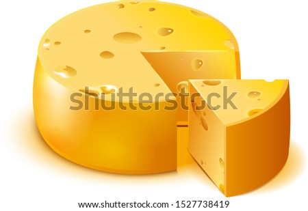 Hard porous cheese big head and sliced piece isolated on white Stock photo © orensila