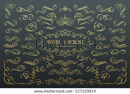 Golden calligraphic design elements and page decoration - vector collection Stock photo © blue-pen