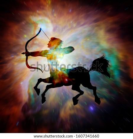 Astrology sign of Sagittarius with mystic aura in universe. Magi Stock photo © SwillSkill