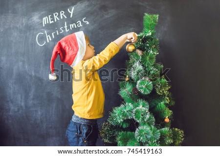 少年 · 碑文 · 陽気な · クリスマスツリー · クリスマス · 子 - ストックフォト © galitskaya
