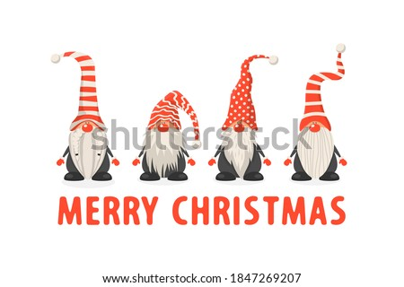 flat design christmas card with happy gnome and reindeer christ stock photo © balasoiu