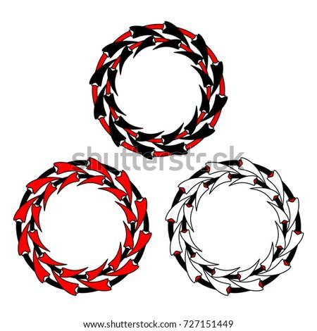 Foto stock: Preto · vermelho · silhueta · coroa · três · unhas