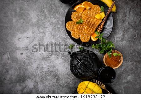 Gezonde ontbijt vers hot harten pannenkoeken Stockfoto © Melnyk