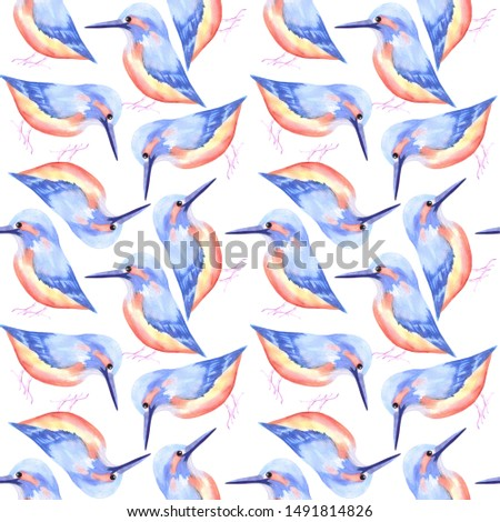 Common Kingfisher or Alcedinidae bird seamless watercolor birds painting background Stock photo © shawlinmohd