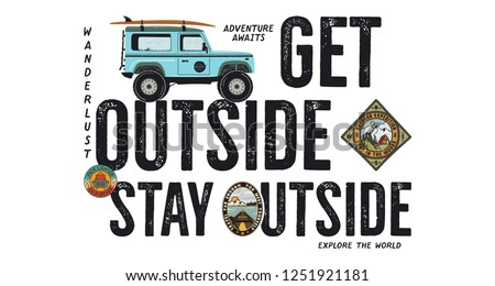 Surfen Abzeichen Design Freien Abenteuer logo Stock foto © JeksonGraphics