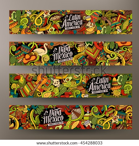 América latina dibujado a mano garabato banner Cartoon detallado Foto stock © balabolka