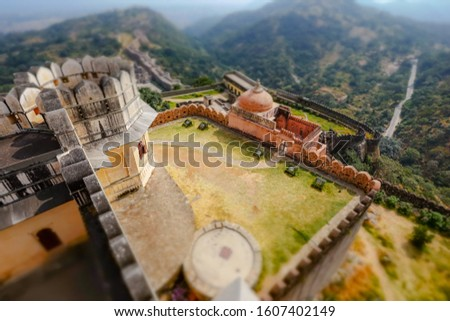 Tilt shift lens - Kumbhalgarh is a Mewar fortress on the westerl Stock photo © cookelma