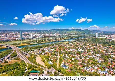 Wenen luchtfoto noordelijk stadsgezicht donau rivier Stockfoto © xbrchx