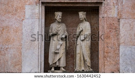King Solomon and Queen Sheba, statues on a facade of the Baptist Stock photo © boggy