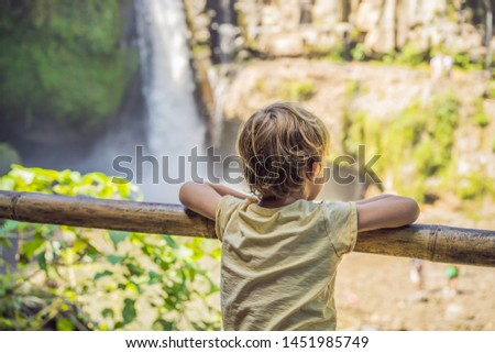 Boy traveler on a waterfall background. Ecotourism concept. Traveling with kids concept. What to do  Stock photo © galitskaya