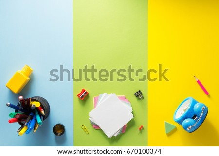 Back to school design with alarm clock, colorful pencil, magnifying glass, scissors, ruler and typog Stock photo © articular