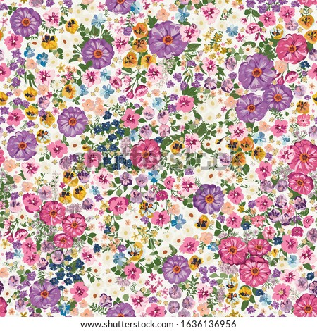 Embroidery seamless pattern with beautiful flowers. Vector handmade floral ornament on coral backgro Stock photo © sanyal