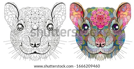 Zentangle stylized rat head. Hand Drawn lace vector illustration for coloring Stock photo © Natalia_1947