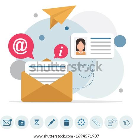 メッセージ インフォグラフィック 作業 プロセス 社会的ネットワーク ストックフォト © LittleCuckoo