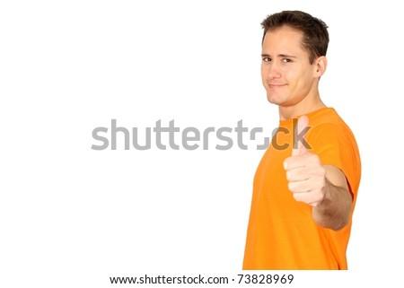 Knap vrolijk glimlachend mannelijk man oranje Stockfoto © benzoix