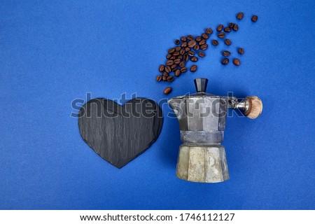 Koffiezetapparaat koffiebonen Blauw trend bonen koffie Stockfoto © Illia