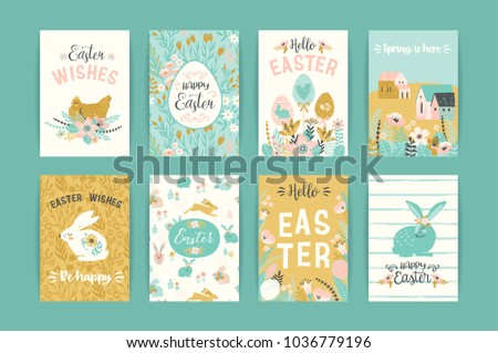 Easter greeting card with chickens paint an egg. Religious holiday vector illustration for poster, f Stock photo © LittleCuckoo
