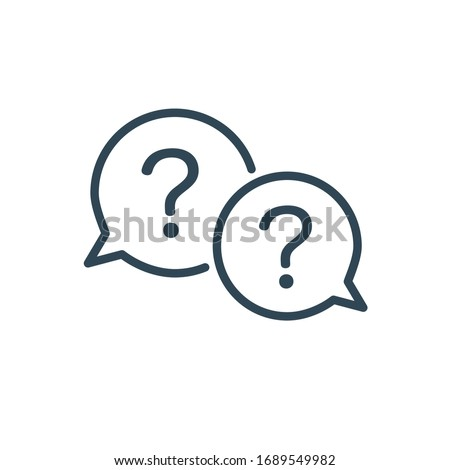 Two linear chat speech message bubbles with question and exclamation marks. FAQ or Forum icon. Commu Stock photo © kyryloff