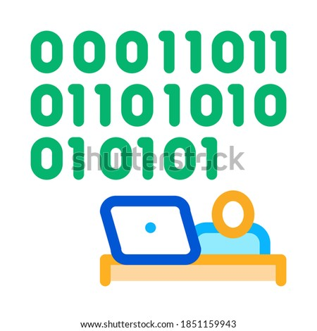 people come up with binary code icon vector outline illustration Stock photo © pikepicture