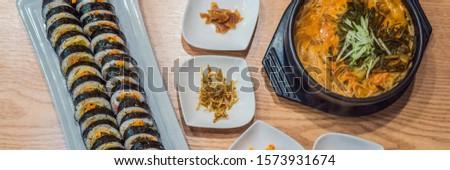 ramen noodles and gimbap meal national korean food BANNER, LONG FORMAT Stock photo © galitskaya