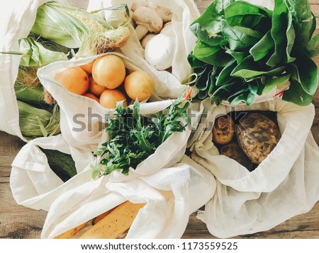 Umweltfreundlich Lebensmittelgeschäft Warenkorb Baumwolle Taschen Stock foto © Illia