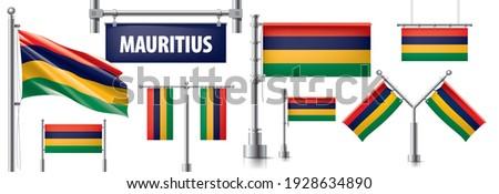 вектора набор флаг Маврикий различный Creative Сток-фото © butenkow